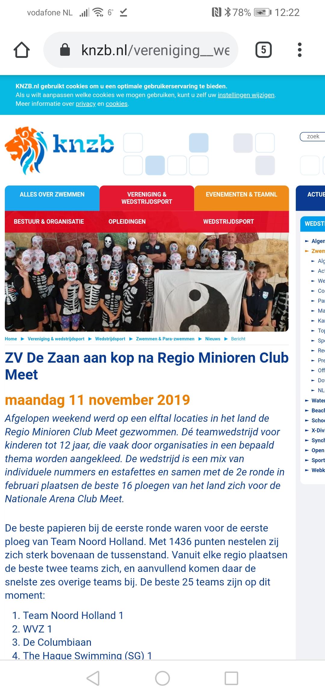 Minioren sterkste team van Nederland tijdens 1e Regio Clubmeet finale.